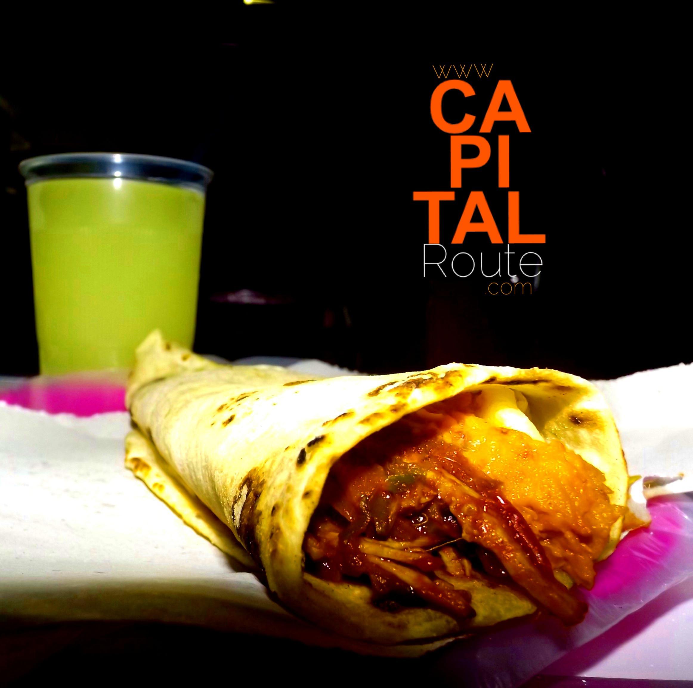 Burrito de carne deshebrada, frijol y agauacate Cenaduría El Gordo www.capitalroute.com